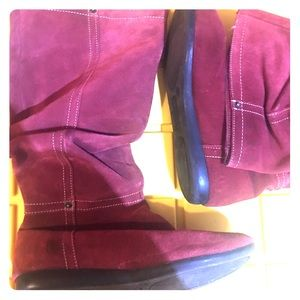 Genuine suede leather slouch red boot